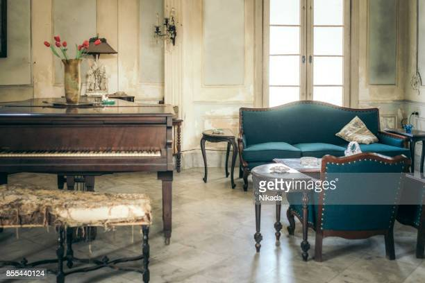 interior of colonial villa in havana - art deco furniture stock pictures, royalty-free photos & images