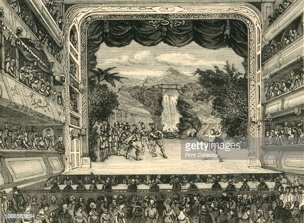 Interior of Covent Garden Theatre in 1804', . A performance on the stage at the Theatre Royal in Covent Garden, London. The first Theatre Royal, on...