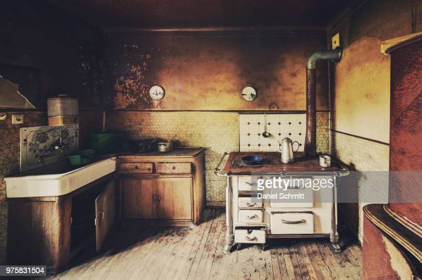 interior of dilapidated domestic kitchen - run down stock pictures, royalty-free photos & images