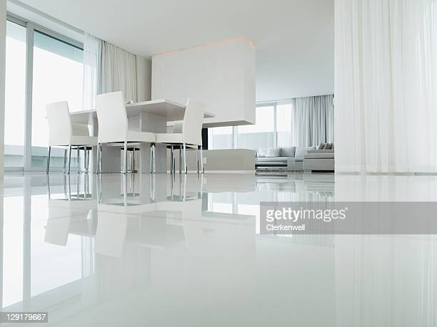 interior of dining room of luxury house - flooring stock photos and pictures