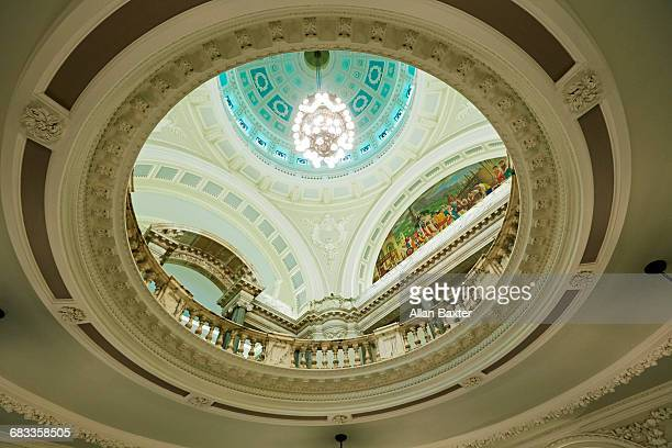 interior of dome and rotunda of belfast city hall - donegall square stock pictures, royalty-free photos & images
