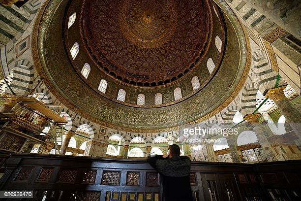Interior of Dome of Rock is seen after its interior restoration works completed in Jerusalem on November 30 2016 Dome of Rock's interior restoration...