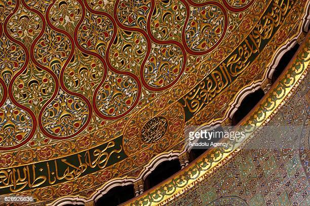 Interior of Dome of Rock is seen after its interior restoration works completed in Jerusalem on November 30, 2016. Dome of Rock's interior...