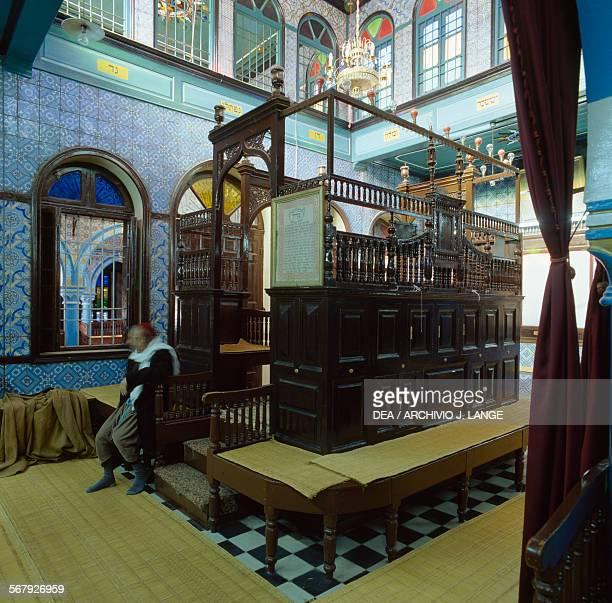 Interior of El Ghriba synagogue Djerba island Medenine Governorate Tunisia