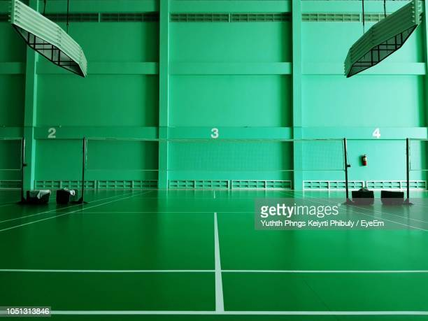 interior of empty badminton court - badminton stock photos and pictures