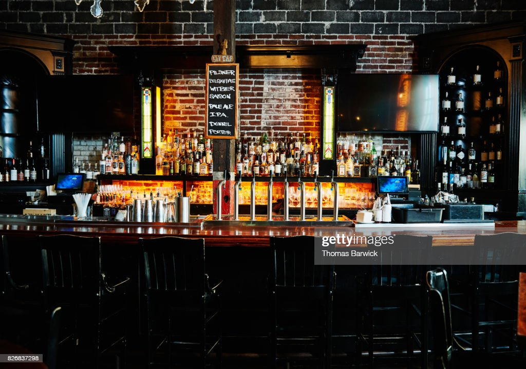 interior of empty bar at night stock photo getty images
