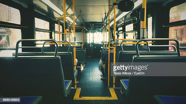 interior of empty bus - vehicle interior stock pictures, royalty-free photos & images