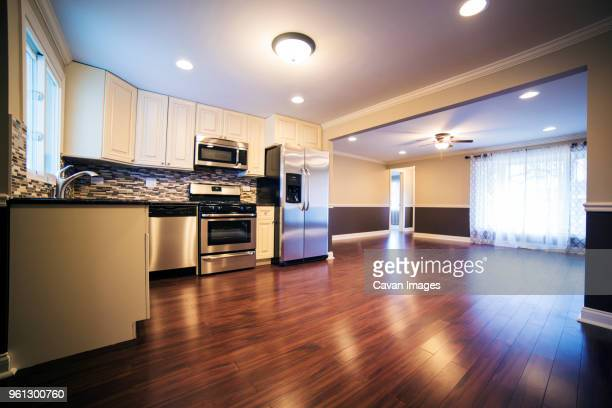 interior of empty kitchen - tidy room stock pictures, royalty-free photos & images