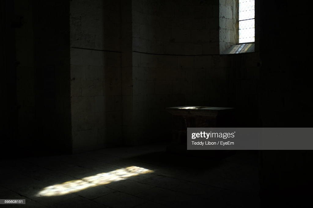 Interior Of Empty Room With Sunlight Through Window In Monastery Stock Photo