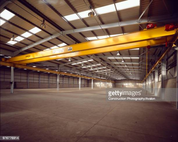 Interior of empty steelframed warehouse