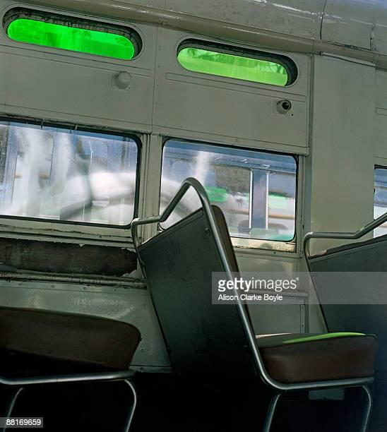 Interior of empty trolley car