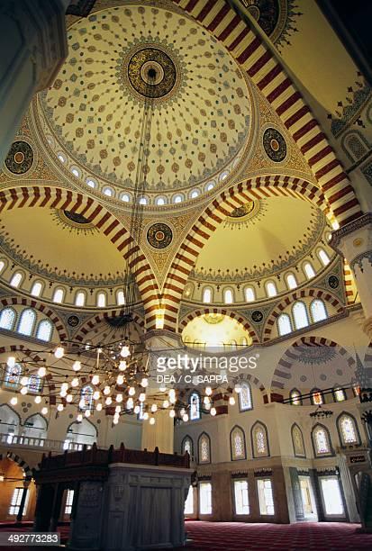Interior of Ertugrul Gazi mosque Ashgabat Turkmenistan