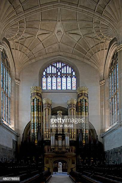 Interior of Eton College chapel English Gothic style built in 1449 with the organ known as Hill Organ installed in 1885 Eton Berkshire United Kingdom