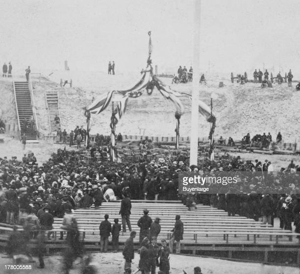 Interior of Fort Sumter Charleston harbor South Carolina April 14 1865 Awaiting the arrival of Gen Anderson and the invited guests to inaugurate the...