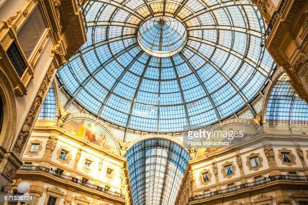 Interior of Galleria Vittorio Emanuele II in Milan, Italy