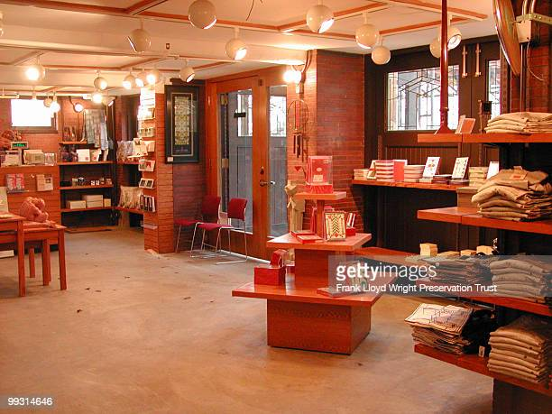 Interior of garage looking southeast the space has been adapted as a bookshop for use by the Frank Lloyd Wright Preservation Trust Chicago Illinois...