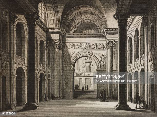 Interior of Ghent University Belgium engraving by Lemaitre from Belgique et Hollande by Van Hasselt L'Univers pittoresque published by Firmin Didot...