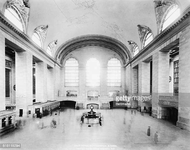 Interior of Grand Central train station showing a nearly empty concourse area