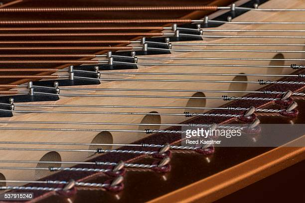 interior of grand piano - musical instrument string stock pictures, royalty-free photos & images