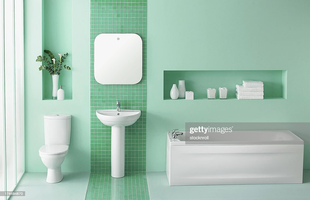Interior of green bathroom : Stock Photo