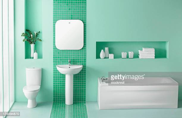 interior of green bathroom - toilet stockfoto's en -beelden