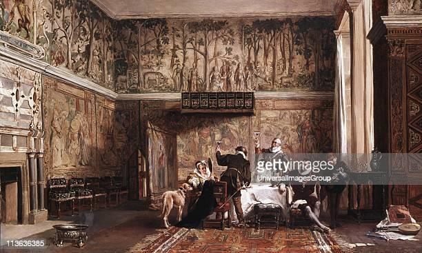Interior of Haddon Hall by John Laslett Pott British history painter, showing Haddon Hall near Bakewell, Derbyshire in Elizabethan times . Begun in...