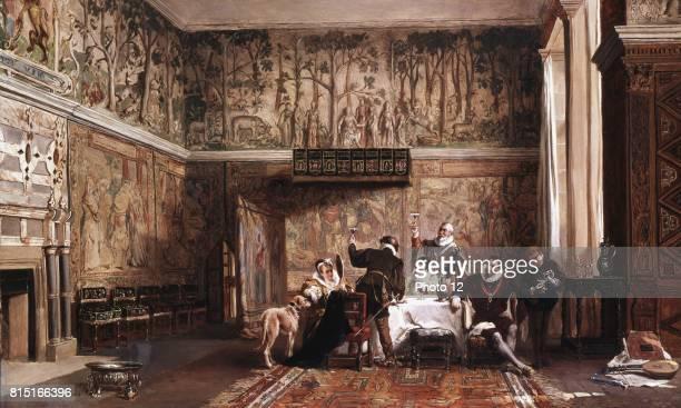 """Interior of Haddon Hall"" by John Laslett Pott British history painter, showing Haddon Hall near Bakewell, Derbyshire in Elizabethan times. Begun in..."