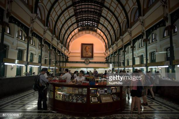 Interior of Ho Chi Minh City Central Post Office The name it receives in the Vietnamese language is Bu in trung tâm and was built at the end of the...