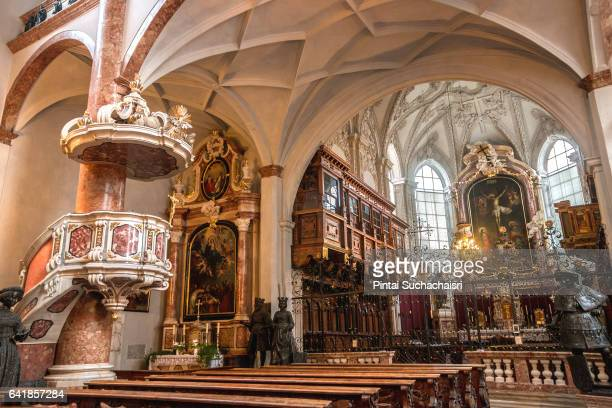 interior of hofkirche (court church), innsbruck, austria - innsbruck stock pictures, royalty-free photos & images