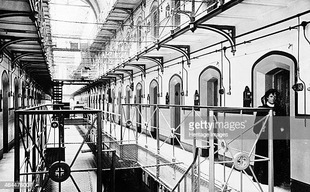 Interior of Holloway Prison London A view showing landings and doorways to cells The prison was completed in 1852 and was originally intended to be...