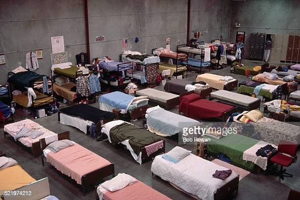 interior of homeless shelter - homeless shelter stock pictures, royalty-free photos & images