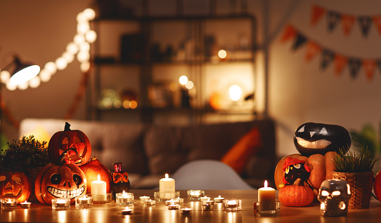 interior of house decorated with  holiday of halloween 1054849882