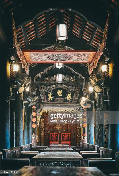 interior of illuminated temple - altar stock pictures, royalty-free photos & images