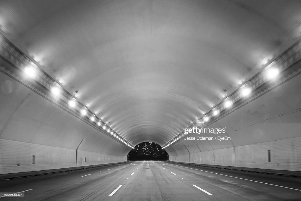 Interior Of Illuminated Tunnel : Stock Photo