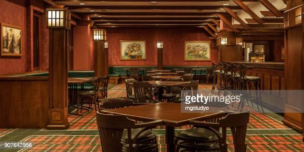 interior of irish a pub - irish pub stock photos and pictures