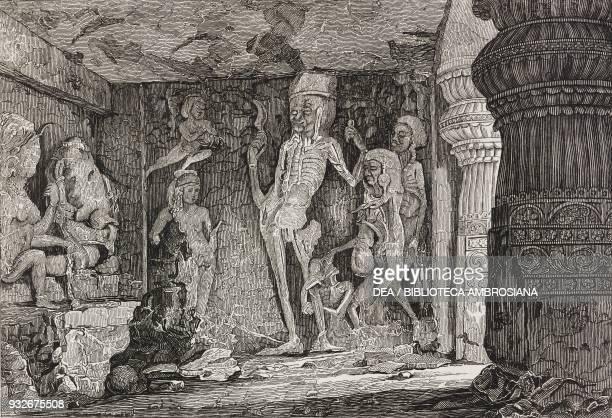 Interior of Kailasa temple Ellora India engraving from L'album giornale letterario e di belle arti June 15 Year 6