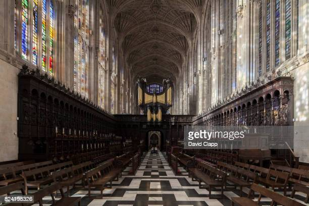 interior of kings college chapel - chapel stock pictures, royalty-free photos & images