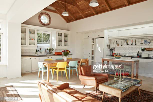 interior of kitchen & living room at home - appartement photos et images de collection