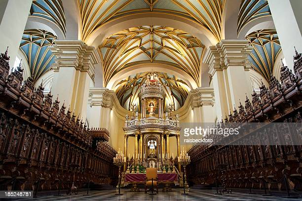 interior of la catedral de lima - lima stock pictures, royalty-free photos & images