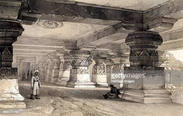 'Interior of Lanka, Ellora', India, 1845; Ellora is famous for its rock temples, a series of caves carved out of the rocky hillside, one and a...