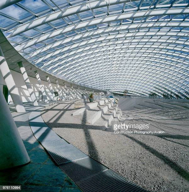 Interior of largest glass span roof: Great Glass House, National Botanic House of Wales Carmarthenshire, Wales, United Kingdom Designed by Norman...