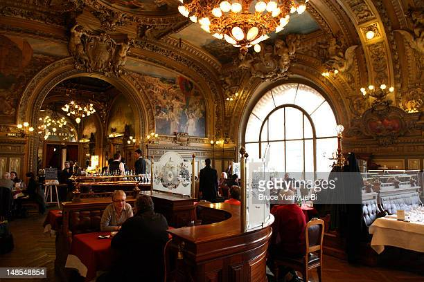 Interior of Le Train Bleu station restaurant at Gare de Lyon railway station.