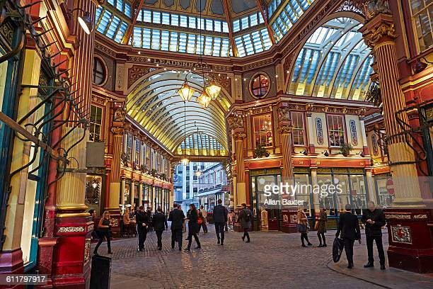 interior of leadenhall market with city workers - leadenhall market stock pictures, royalty-free photos & images