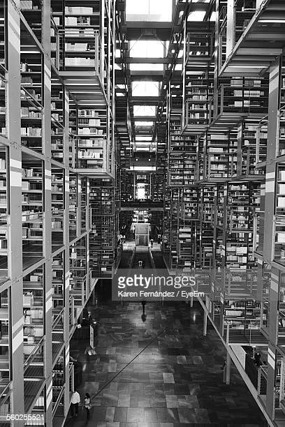 interior of library - mexico black and white stock pictures, royalty-free photos & images