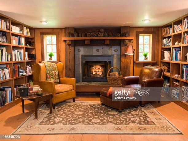 Interior of living room and fireplace