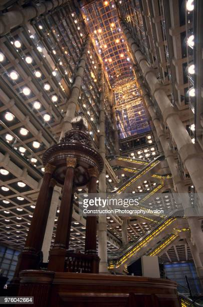 Interior of Lloyd's Building with Lutine Bell, City of London, UK.