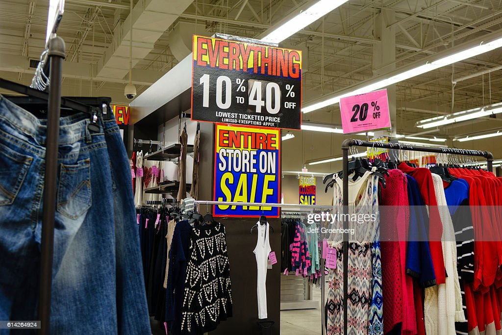 Interior of Loehmann's discount clothing as store is going out of buisness. : News Photo