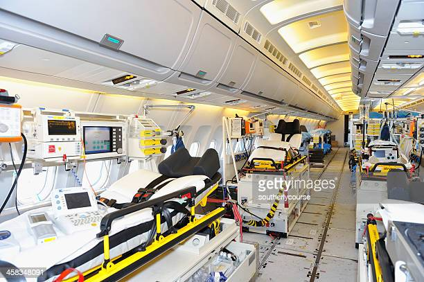 interior of luftwaffe airbus a310-300 mrt medevac - medevac stock photos and pictures