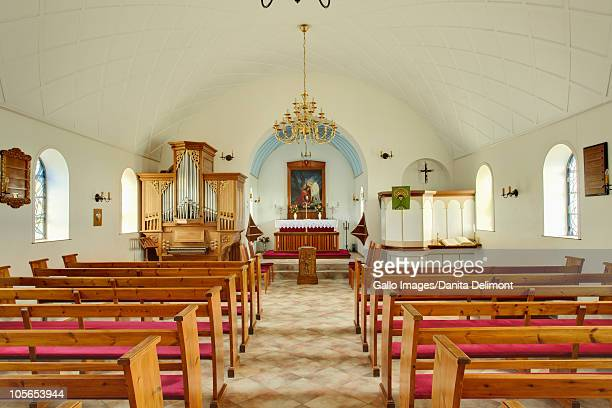 interior of lutheran church, iceland - protestantism stock pictures, royalty-free photos & images
