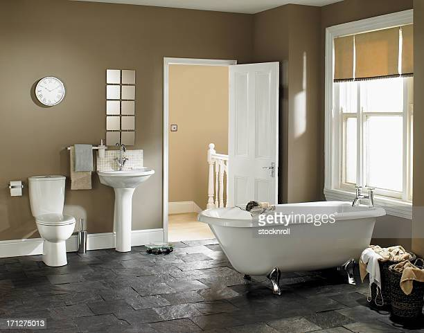 interior of luxurious bathroom - bathroom stock photos and pictures